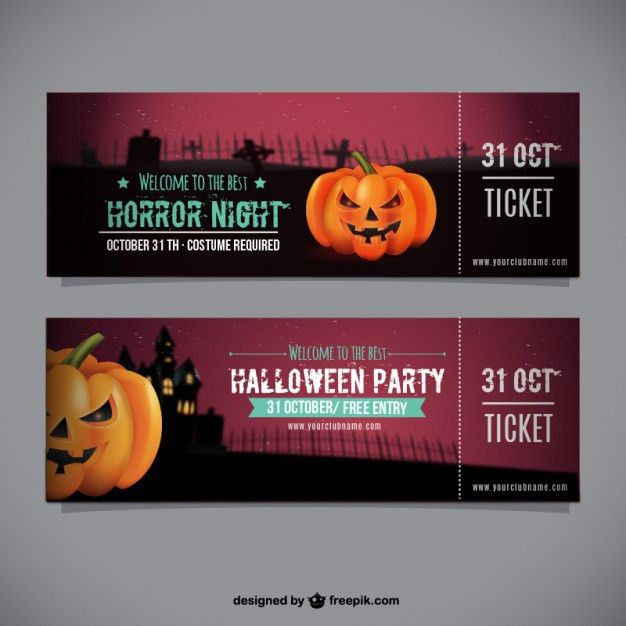 Halloween party ticket template Vector | Free Download