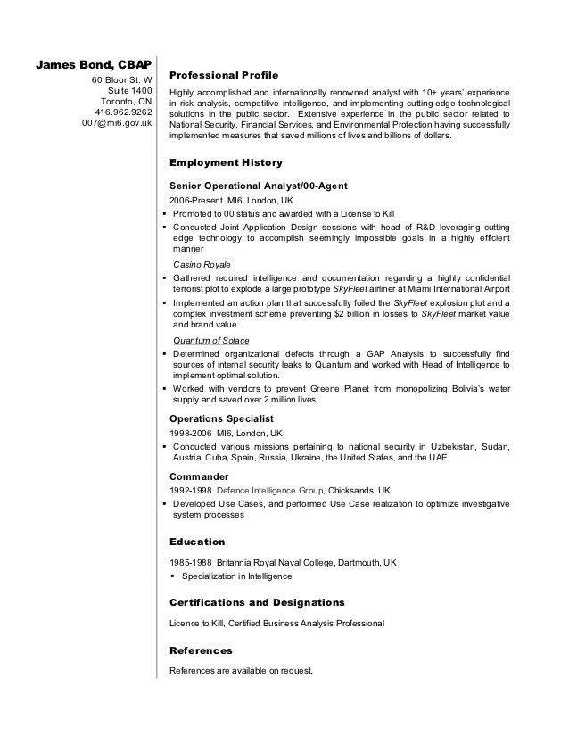 Business Analyst Resume Sample - James Bond