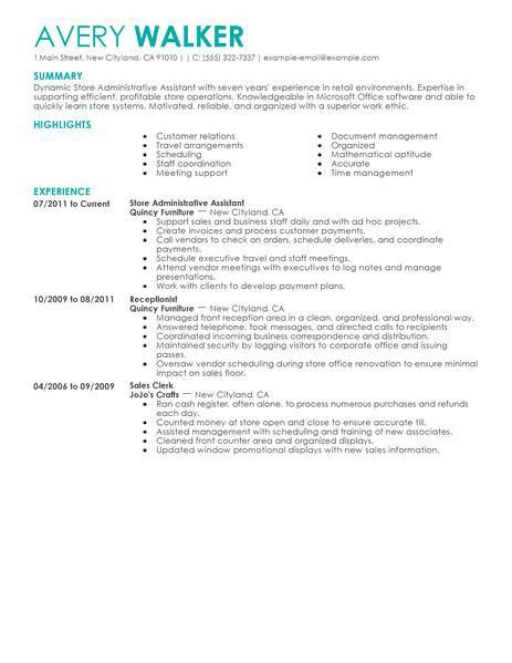 Best Store Administrative Assistant Resume Example | LiveCareer