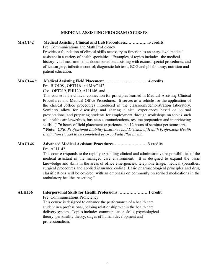 MEDICAL ASSISTING PROGRAM STUDENT MANUAL