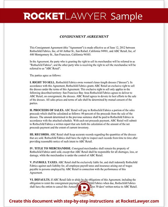 Consignment Agreement U0026 Contract Sample | Rocket Lawyer  Consignment Agreement Definition