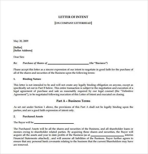 Sample Letter of Intent to Purchase Business - 8+ Documents in PDF ...