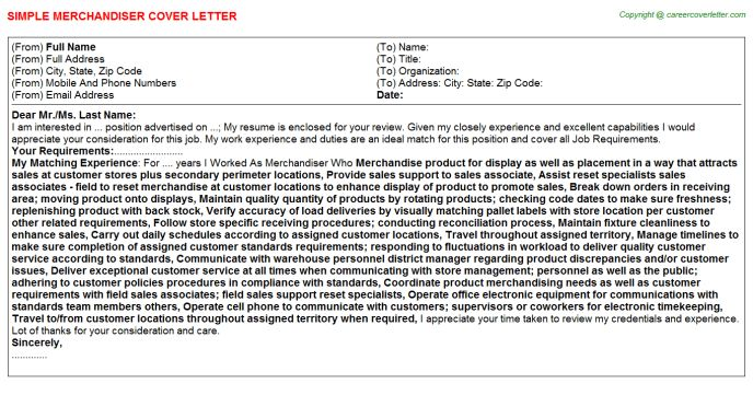 image result for cover letter for retail merchandising position ...