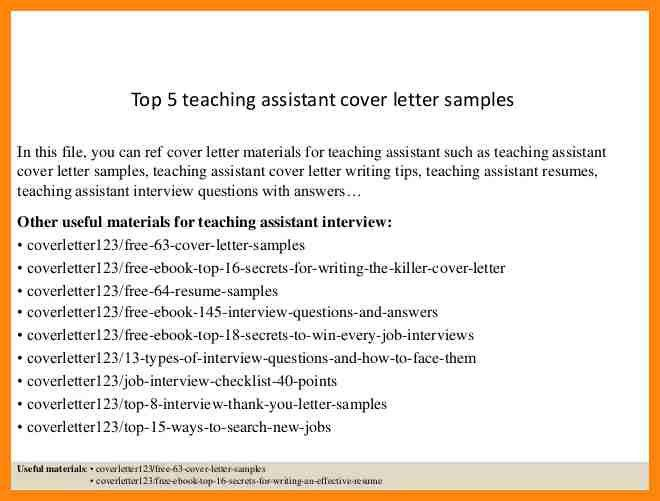 8+ teaching assistant cover letter | nurse resumed