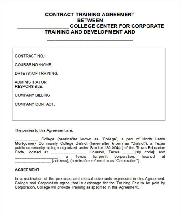 8+ Training Contract Templates | Free & Premium Templates