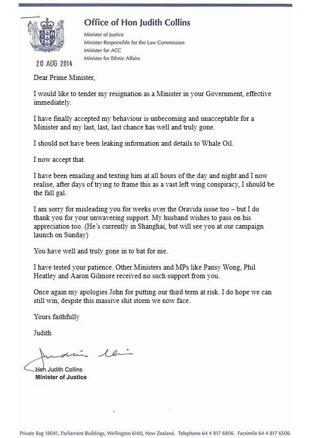 Fake Judith Collins resignation shocks | Stuff.co.nz