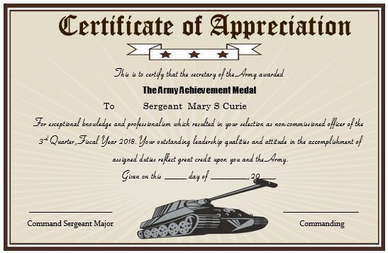 Army certificate of appreciation template sample certificate of 20 professional army certificate of appreciation templates yadclub Image collections
