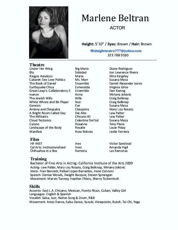 Actor Resume. Barb Jones Photography | Sample Actor Resume Acting ...