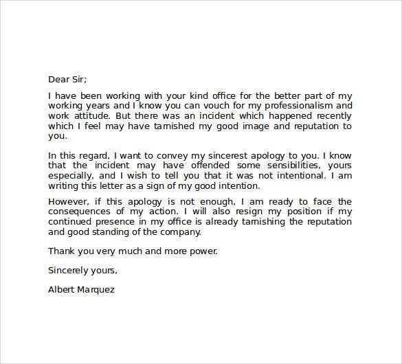 Excellent Apology Letter Example To Client for Mistake Loss of ...