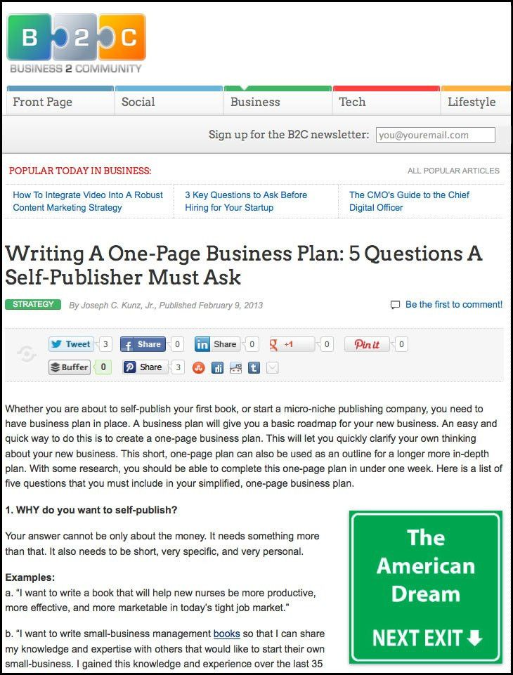 Writing a One-Page Business Plan: 5 Questions A Self-Publisher ...