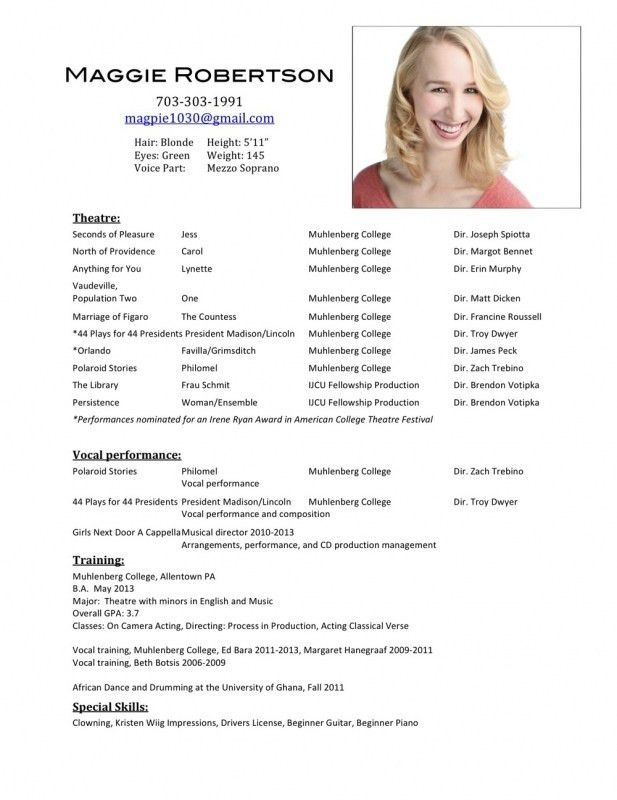 How To Format An Acting Resume | Samples Of Resumes