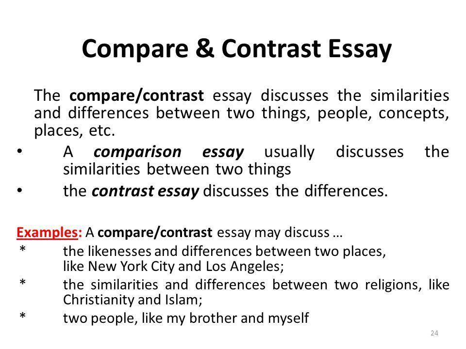Compare and contrast college essay topics