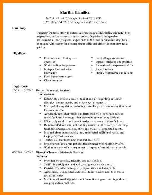 restaurant waiter resume sample waitress resume objective samples