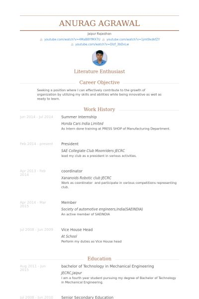 Summer Internship Resume samples - VisualCV resume samples database