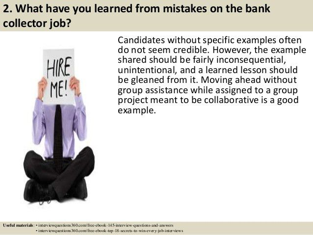 Top 10 bank collector interview questions and answers