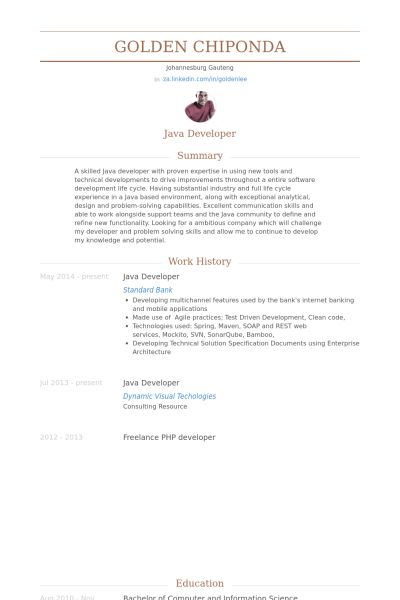 Java Developer Resume samples - VisualCV resume samples database