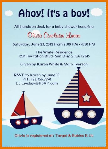 Baby Shower Invitation Template.Nautical Sailboat Baby Boy Baby ...