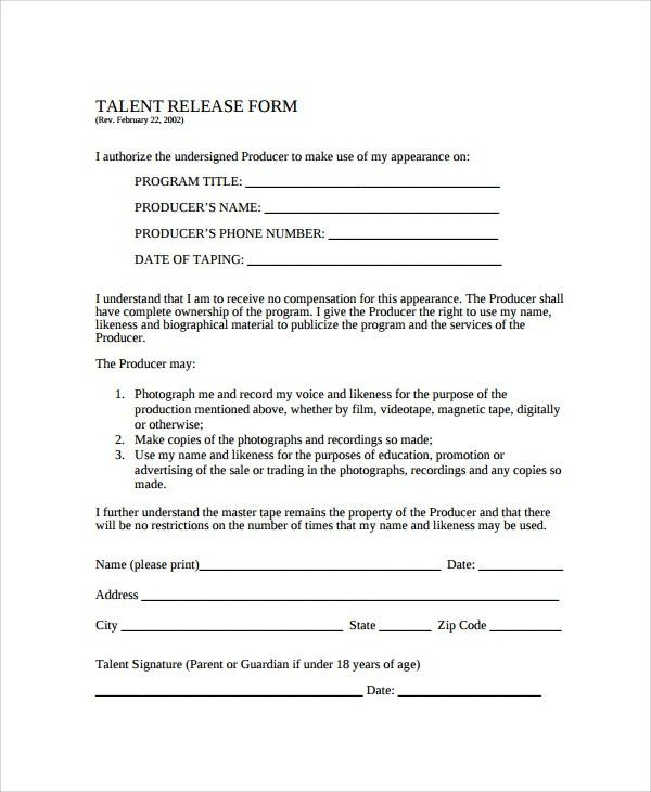 Sample Talent Release Form Template - 9+ Free Documents Download ...