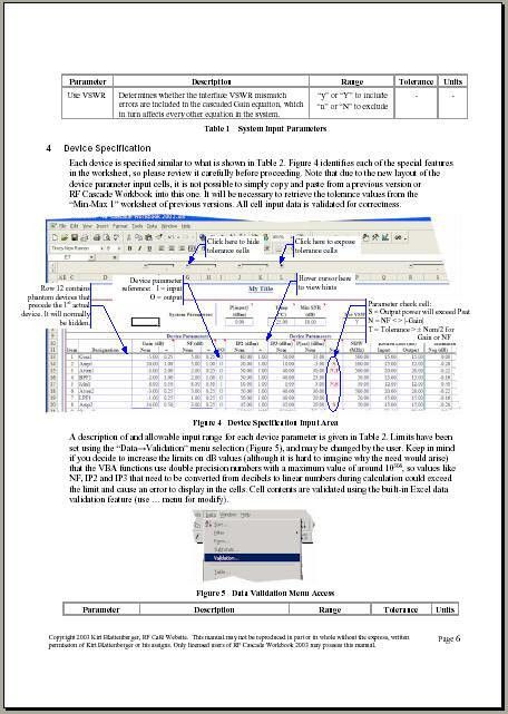 RF Cascade Workbook 2003 User's Guide Pages - RF Cafe