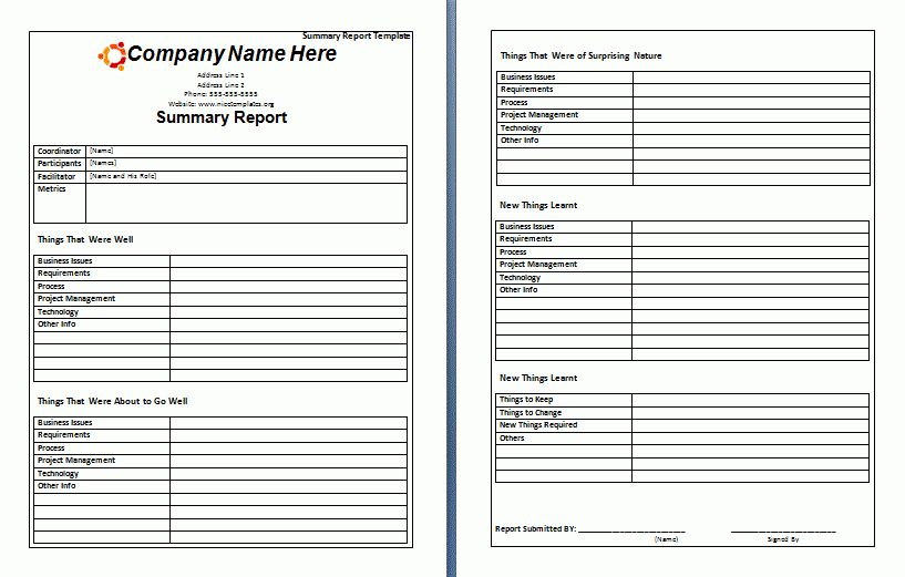 Summary Report Template | Nice Word Templates