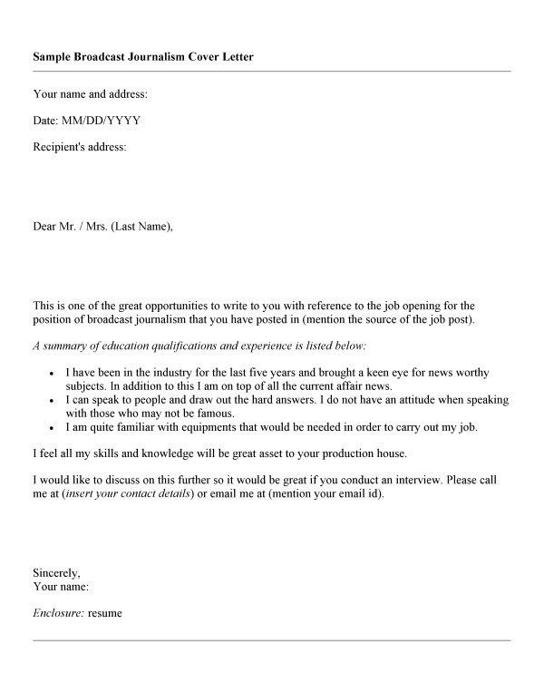 Cover Letter For Journalist Position Andrian James Blog
