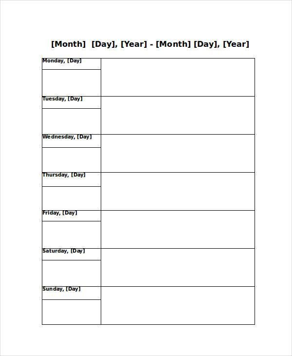 Blank Weekly Calendar - 9+ Free PDF, Word Documents Download ...