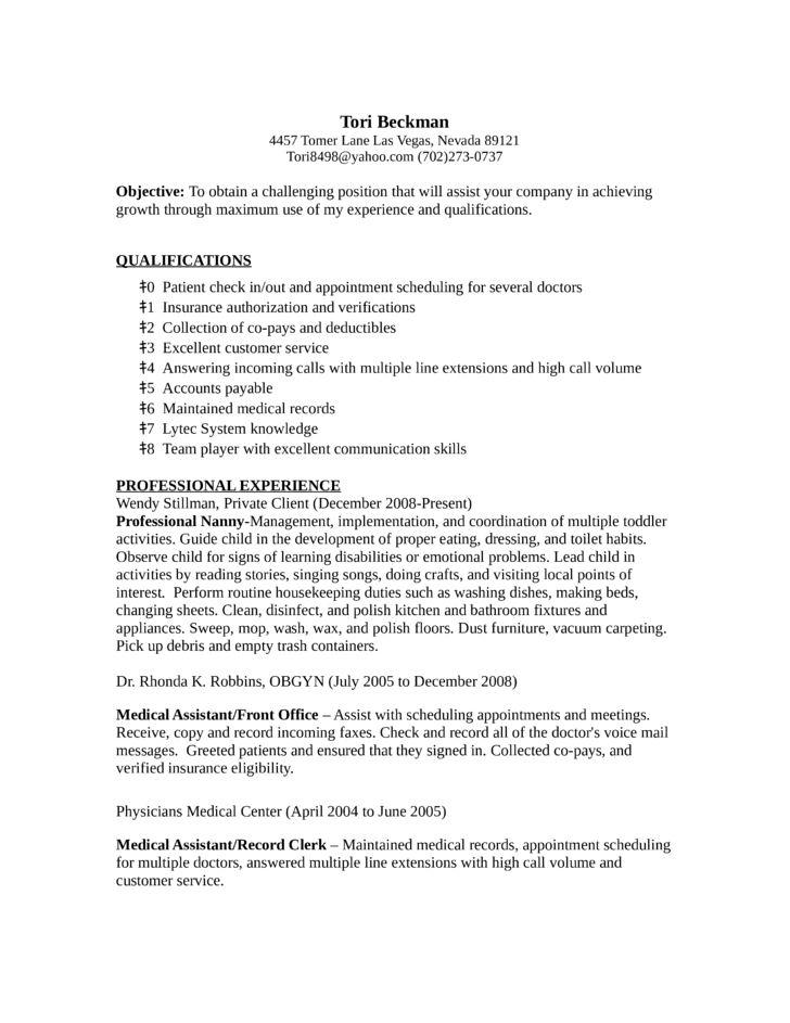 sample medical records clerk resume sample resume customer service ...