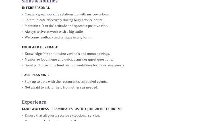 waitress resume objective - Writing Resume Sample | Writing Resume ...