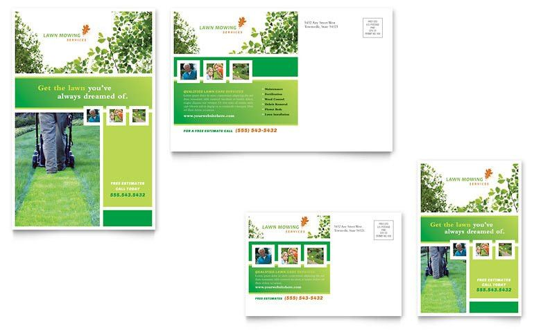 Lawn Mowing Service Postcard Template - Word & Publisher