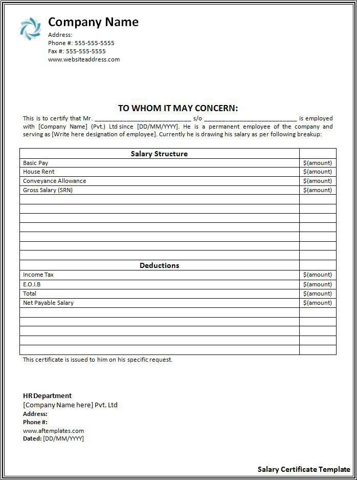 Salary Certificate Format | Free Printable Word Templates,