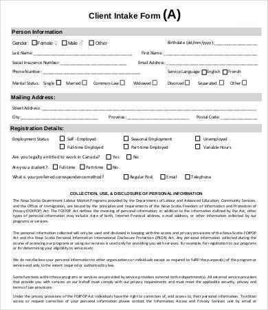 Intake Form Template - 10+ Free PDF Documents Download | Free ...