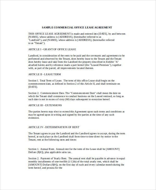 Sample Commercial Office Lease Agreement - 7+ Documents in PDF, Word