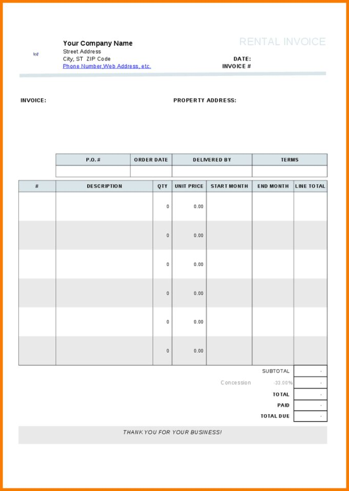 Creating Car Rental Invoice Template for Business Ideas : Vlcpeque