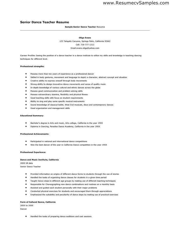 Dance Teacher Resume Sample - Best Resume Collection
