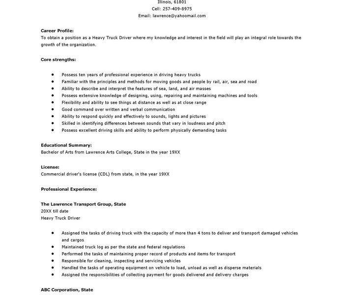 Interesting Truck Driver Resume Sample 15 Resume Objective ...