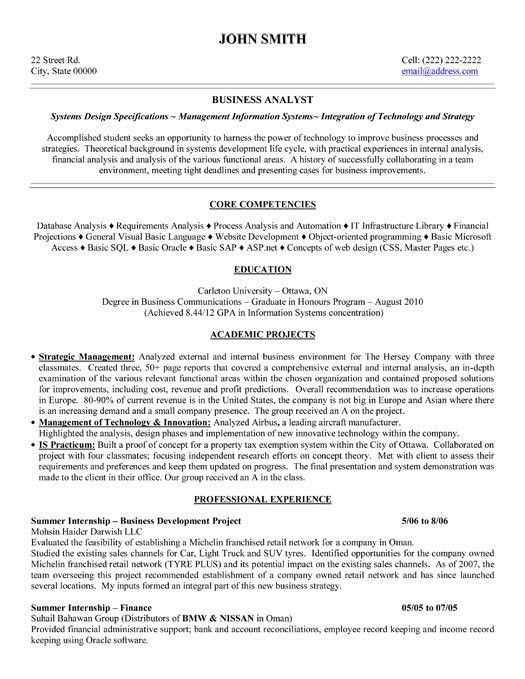 resume sample example of business analyst resume targeted to the ...