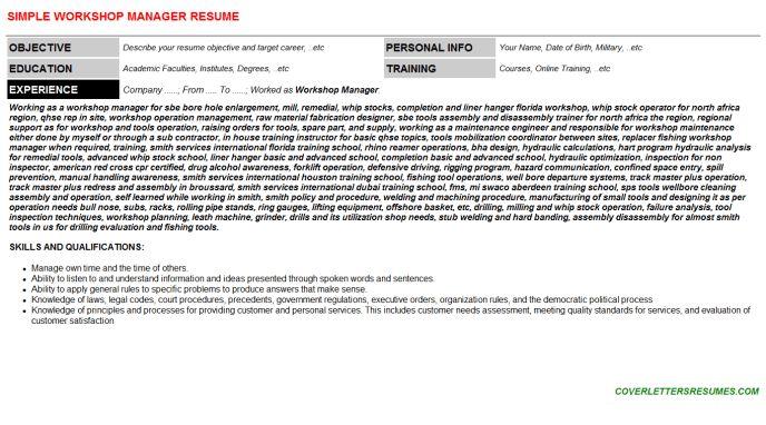 Workshop Manager Cover Letter & Resume