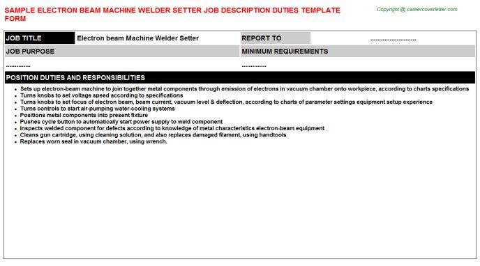 Welder Setter Electron Beam Machine Job Descriptions
