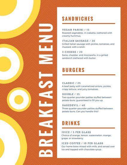 breakfast menu templates