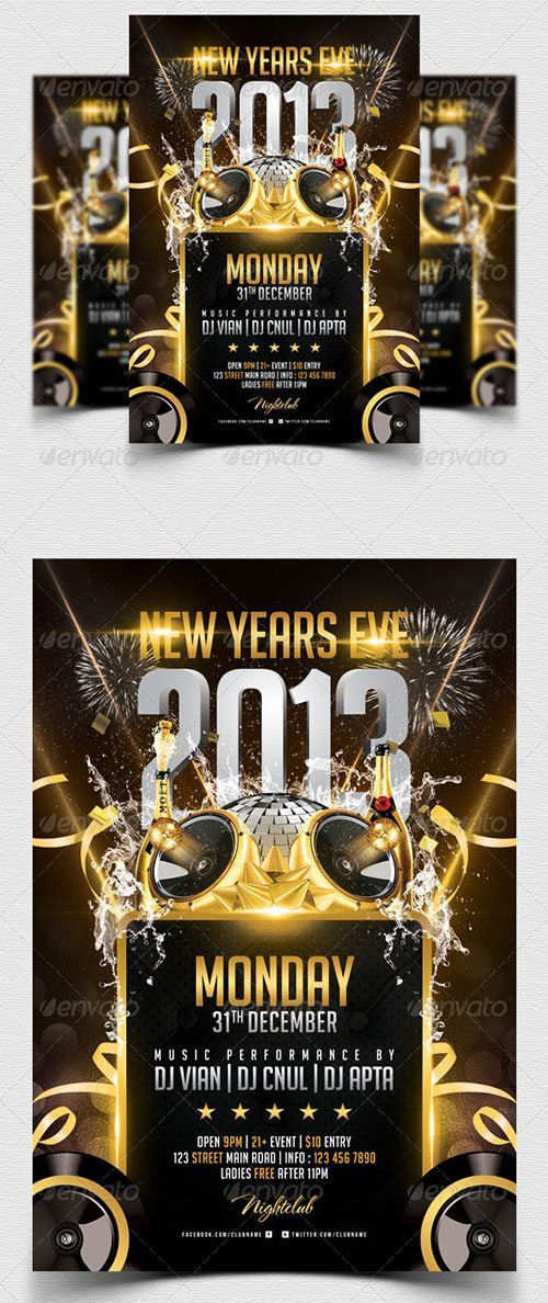 Best 20 New Year PSD Flyer Templates to download at Flyersonar.com