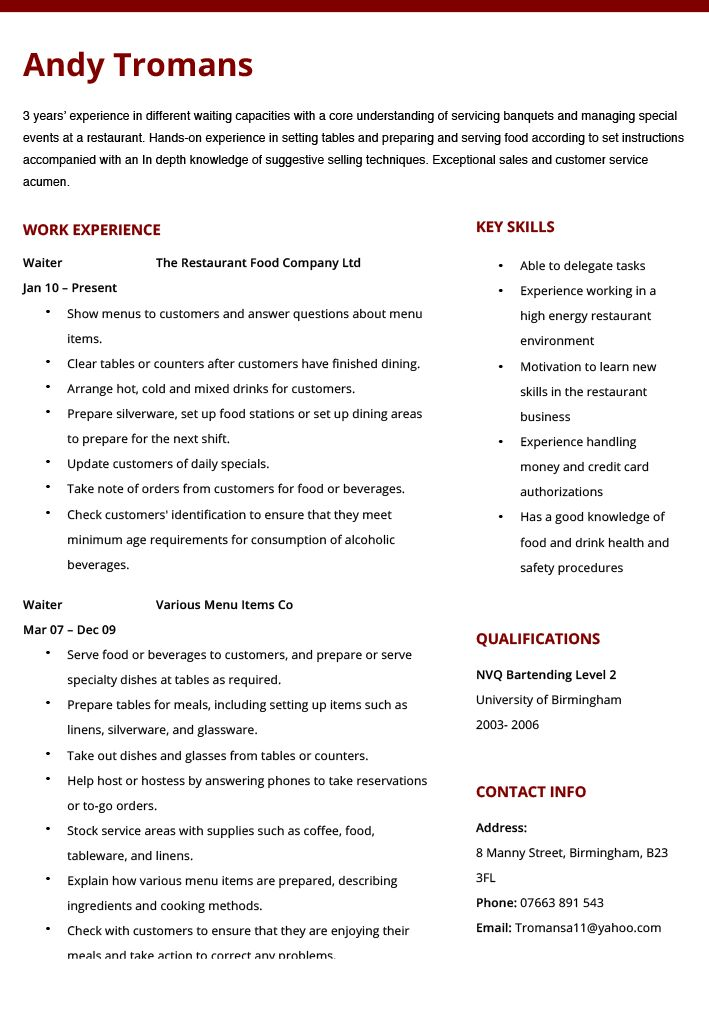 100+ Waiter Resume Sample - Resume Waitress Resume Examples Resumes