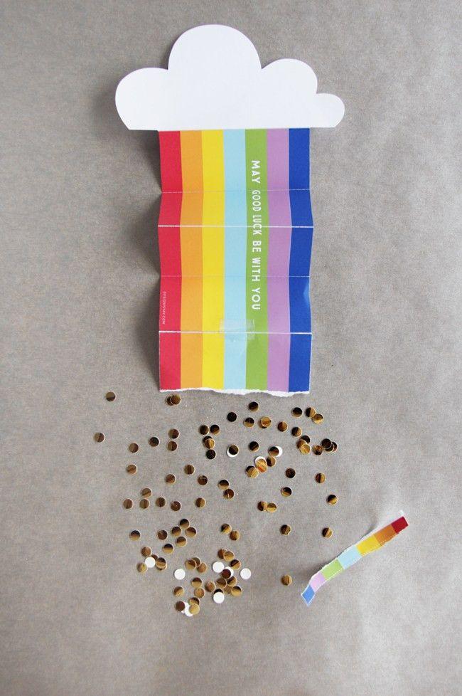 Rainbow and Confetti Good Luck Card | St Patrick's Printable ...