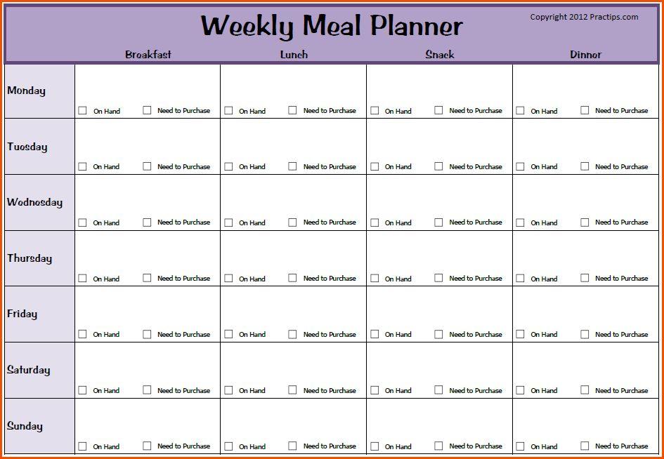 menu planner template word