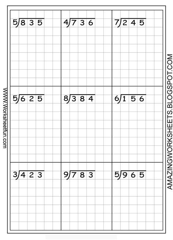 Long division worksheets ... free... using graph paper keeps the ...