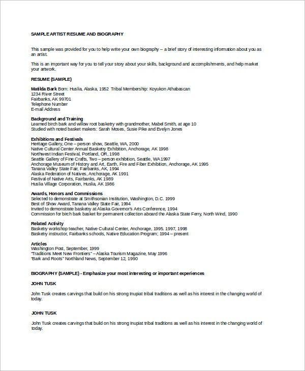 Sample Artist Resume - 8+ Examples in Word, PDF