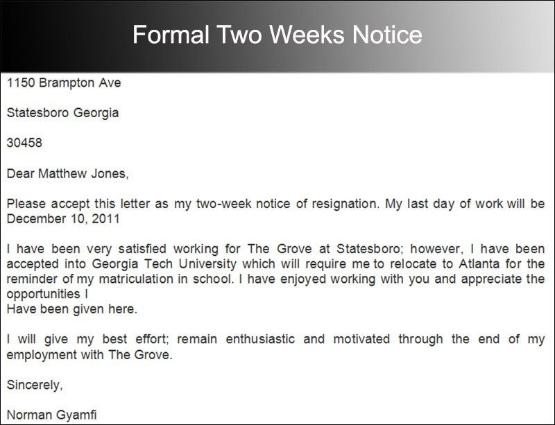 Two Weeks Notice Letter Templates - Free PDF, Word Documents ...