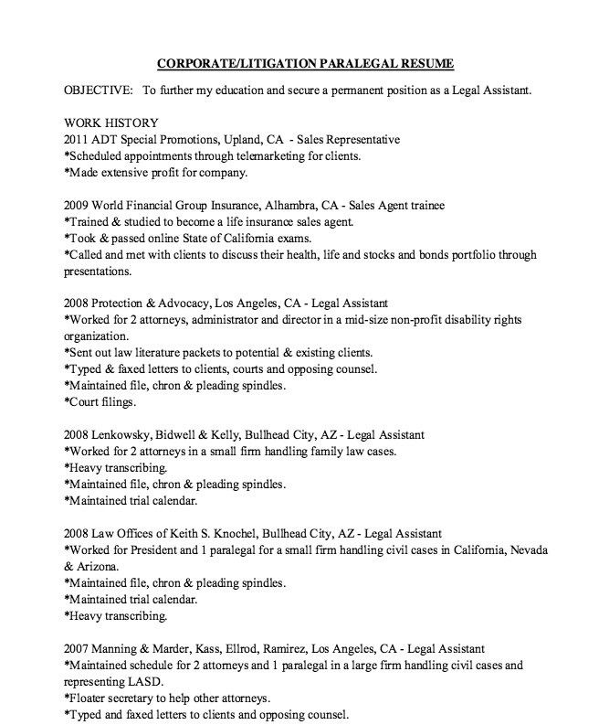 Legal Assistant Resume Entry Level Sample Cv For Medical ...