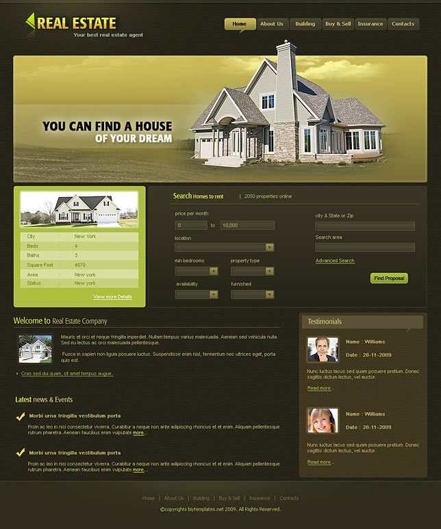 Affordable real estate web templates