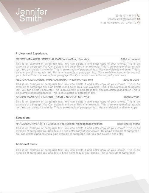 13 best Free Resume Templates - Word Resume Templates images on ...