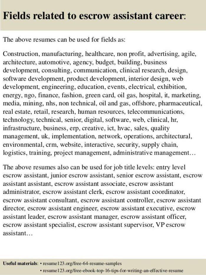 escrow assistant resume top 8 escrow assistant resume samples